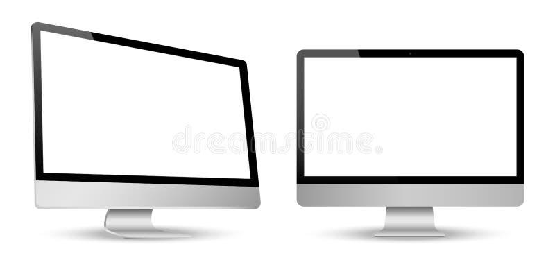 La opinión de la pantalla de ordenador se fue y el frente aisló el fondo blanco stock de ilustración