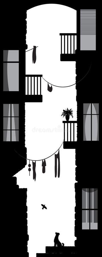 La opinión de la vida de la yarda de la ciudad, entre la ciudad contiene: londry, balconues, nostalgia de la ciudad, perro, pájar ilustración del vector
