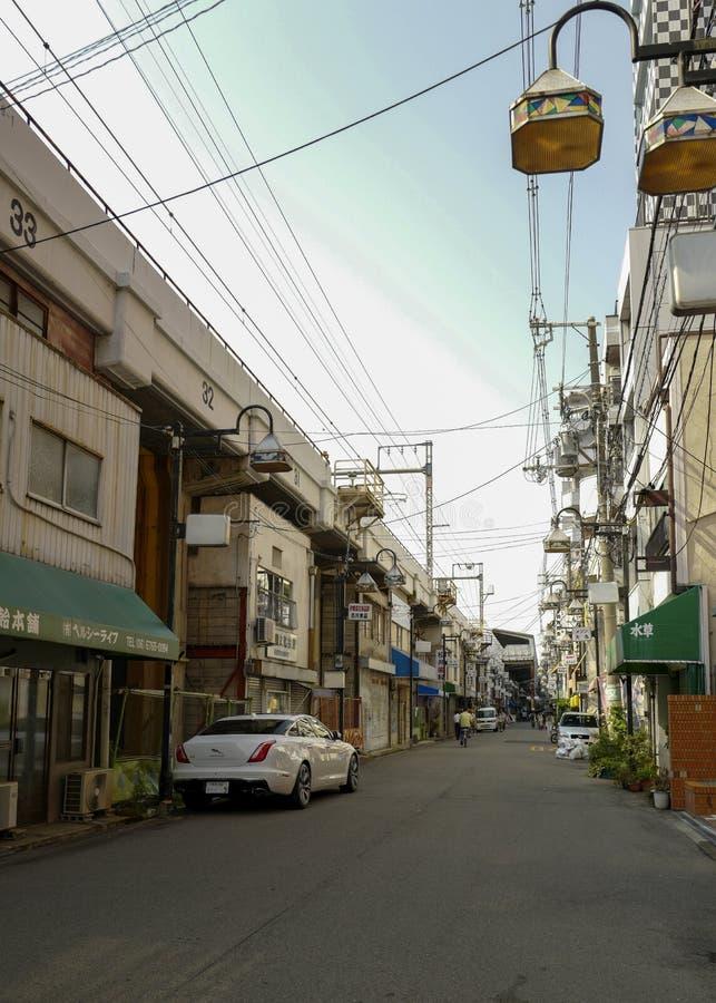 La opinión del paisaje de la calle Osaka es una ciudad se?alada en la regi?n de Kansai de Jap?n Y Osaka recibirá la expo 2025 fotos de archivo libres de regalías