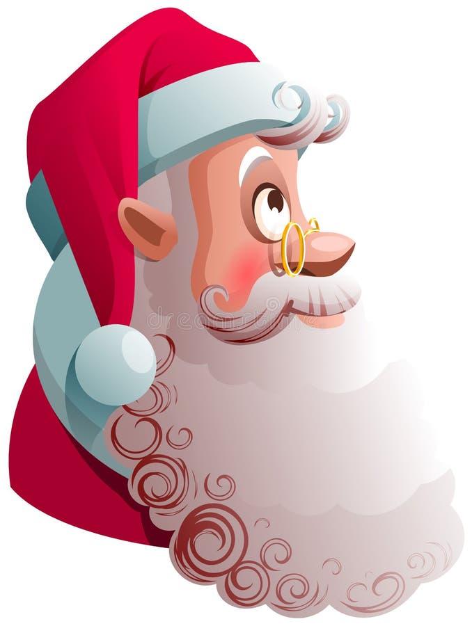 La opinión del perfil de la cabeza de Santa Claus mira para arriba Ejemplo de la historieta de la Navidad libre illustration