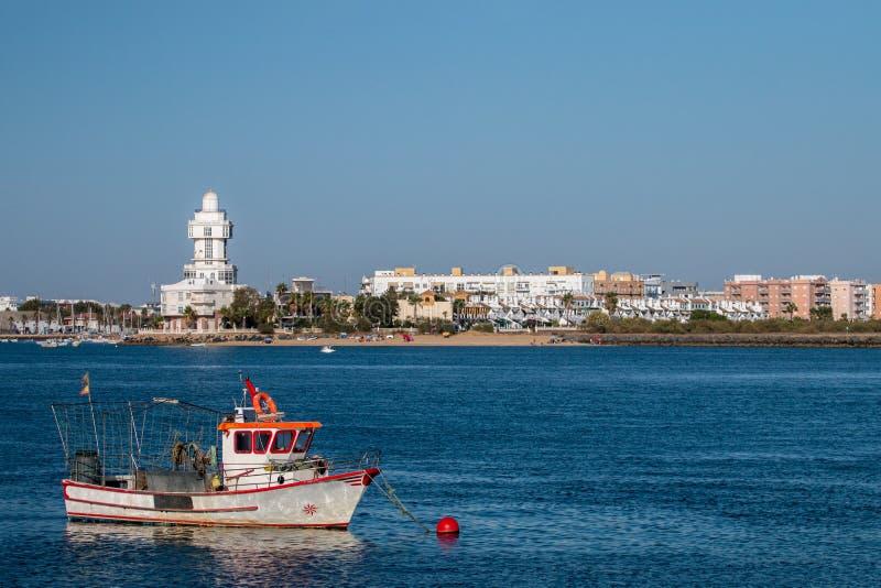 La opinión del verano de la calma riega cerca de Isla Cristina, España imágenes de archivo libres de regalías