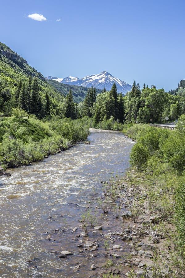La opinión escénica veertical del río de North Fork Gunnison en el parque de estado de Paonia, Colorado imagenes de archivo