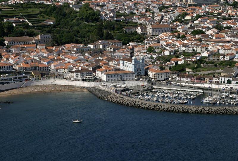 La opinión panorámica de Terceira de las islas de Portugal Azores de Angra hace Heroismo fotos de archivo libres de regalías