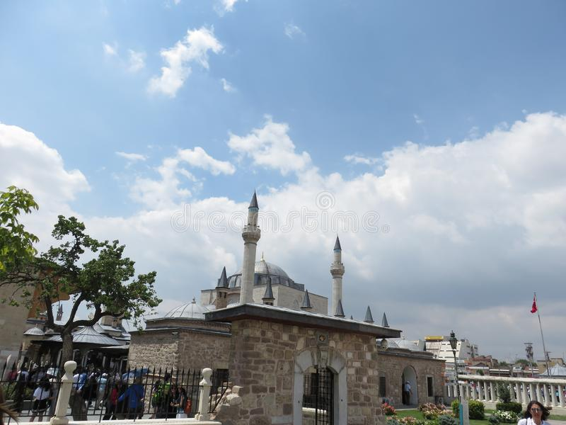 La opinión sobre los tejados de las células del derviche, los lugares santos de Konya fotografía de archivo libre de regalías