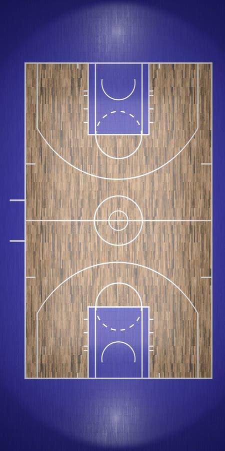 La opinión superior la cancha de básquet 3d rinde ilustración del vector