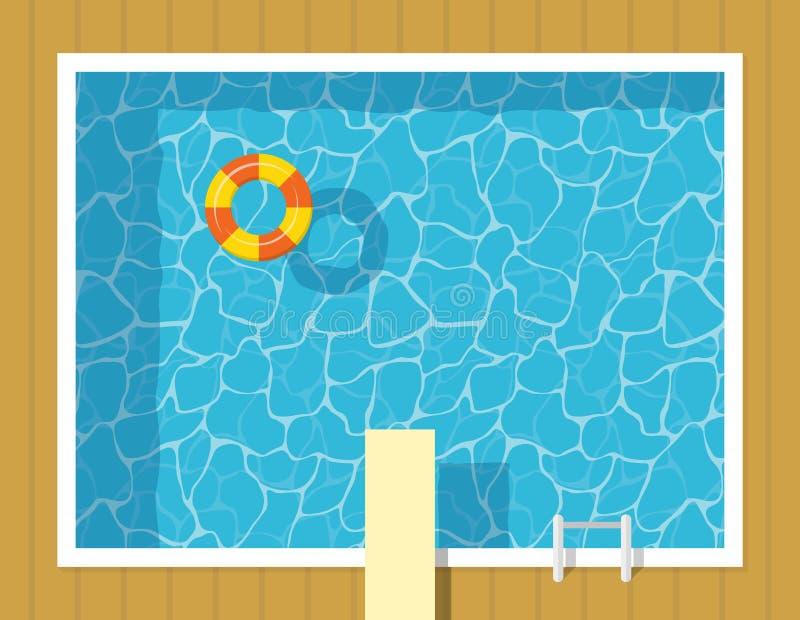 La opinión superior de la piscina con el anillo inflable y el trampolín saltan stock de ilustración