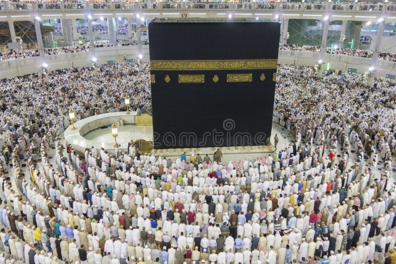 La opinión superior peregrinos musulmanes consigue lista para la velada de oración en Makkah, la Arabia Saudita fotografía de archivo libre de regalías