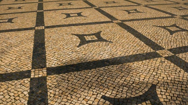 La opini?n sobre el piso t?pico de Lisboa, adorna t?pico de esta ciudad fotografía de archivo