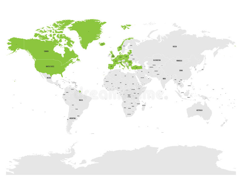 La Organización del Tratado del Atlántico Norte, OTAN, países miembros destacó por verde en mapa político del mundo 29 Estados mi libre illustration