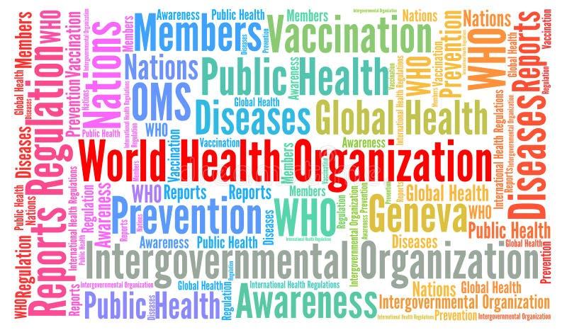 La Organización Mundial de la Salud redacta la nube stock de ilustración