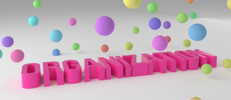 La organización, negocio 3D colorido conceptual rindió palabras Diseño, título, web y creatividad ilustración del vector