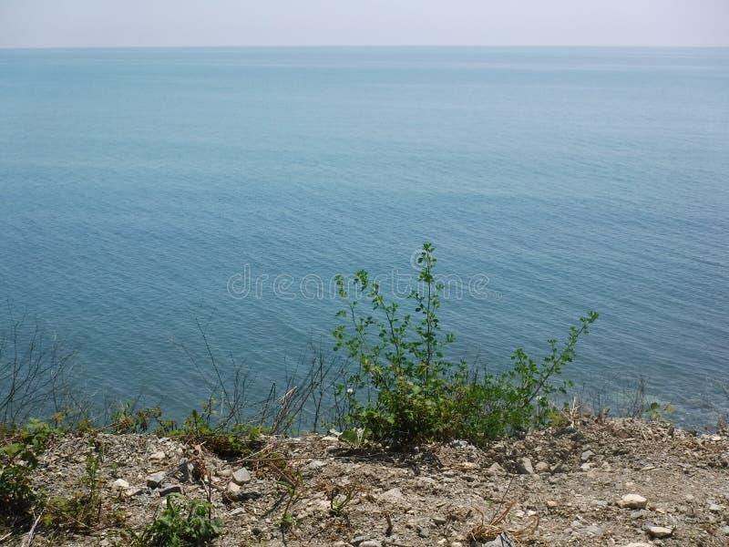 La orilla y los diversos edificios en el pueblo de Volkonskaya en la costa del Mar Negro, la mayor región de Sochi imagenes de archivo
