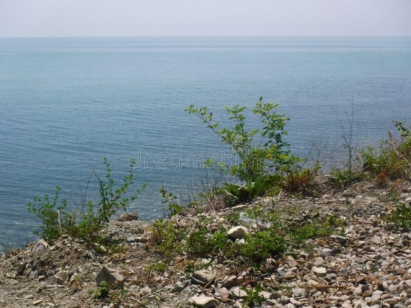 La orilla y los diversos edificios en el pueblo de Volkonskaya en la costa del Mar Negro, la mayor región de Sochi imágenes de archivo libres de regalías