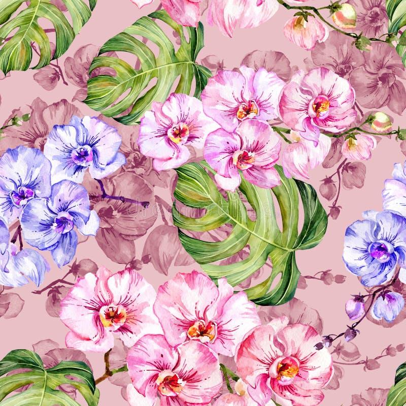 La orquídea azul y rosada florece y el monstera se va Modelo floral inconsútil Pintura de la acuarela Ilustración drenada mano stock de ilustración