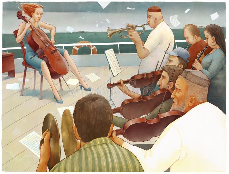 La orquesta de la nave ilustración del vector