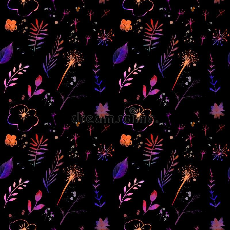 La oscuridad florece fondo con las flores y las ramas pintadas acuarela Modelo inconsútil de la materia textil y del papel Contex libre illustration