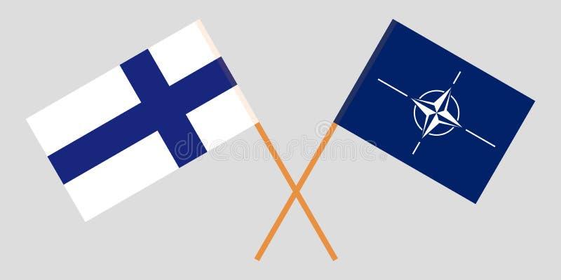 La OTAN y las banderas finlandesas ilustración del vector