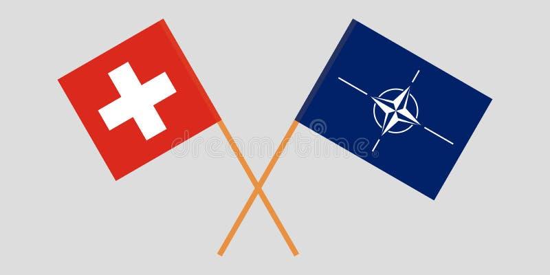 La OTAN y las banderas suizas libre illustration