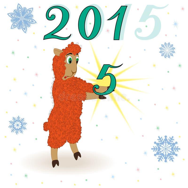 La oveja anaranjada desconcertada ha cogido un cuadro cinco stock de ilustración