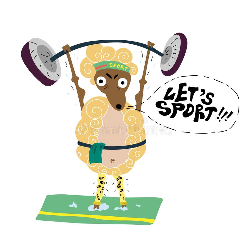 La oveja con un esfuerzo aumenta la barra y las llamadas para los deportes ilustración del vector