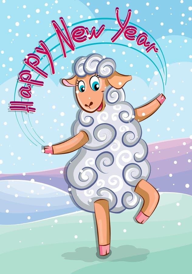 La oveja linda disfruta en el Año Nuevo fotos de archivo