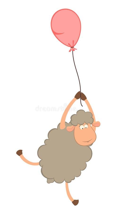 La oveja vuela en un globo libre illustration