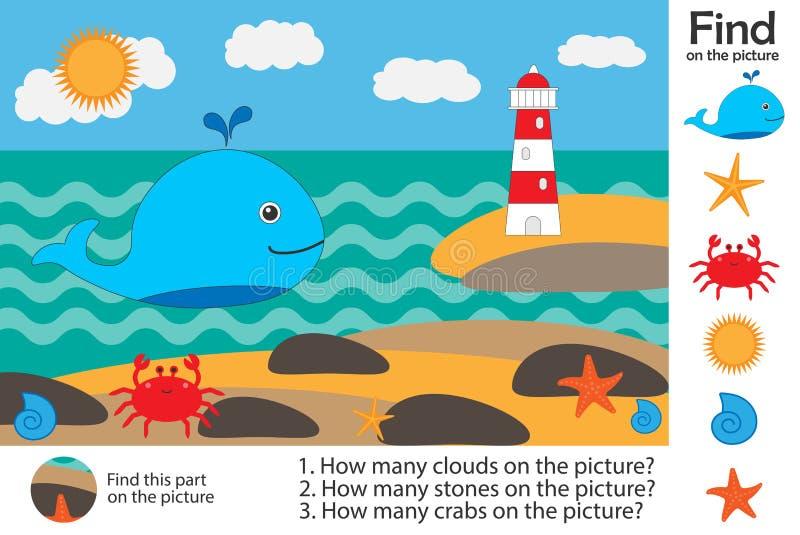 La página de la actividad, vida marina en estilo de la historieta, encuentra imágenes, contesta a las preguntas, juego visual de  ilustración del vector