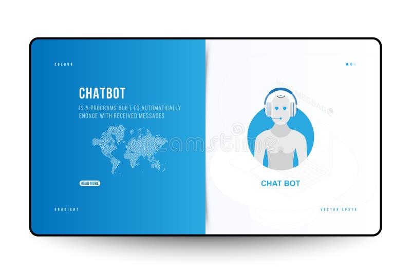 La página de aterrizaje diseña la plantilla para el sitio web con el icono Chatbot y el mapa del mundo de la tecnología en el fon libre illustration