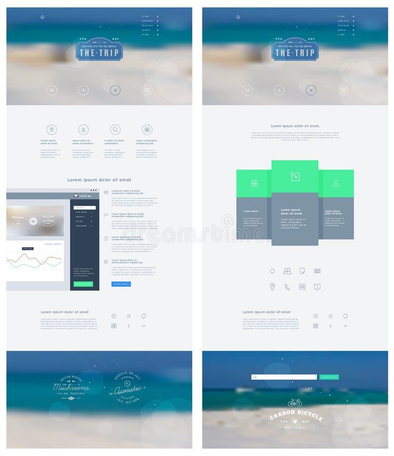 La página de aterrizaje en estilo plano con los iconos de las características y firma para arriba el impreso Modelo del vector stock de ilustración
