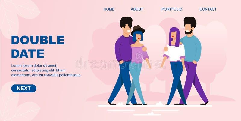 La página de aterrizaje plana ofrece la organización de la fecha doble libre illustration