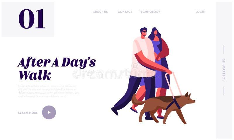 La página de aterrizaje de la página web discapacitada de los peatones, el hombre ciego que camina con el perro guía, el bastón y stock de ilustración