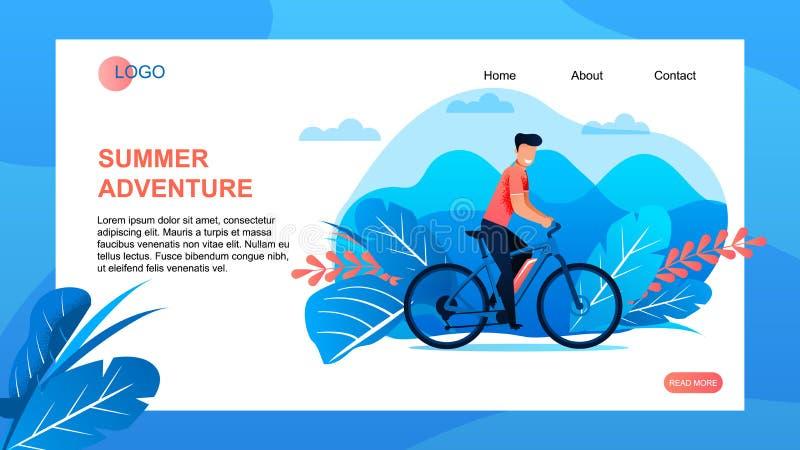 La página del aterrizaje de la agencia del viaje ofrece aventura del verano ilustración del vector