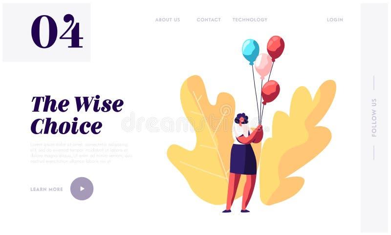 La página del aterrizaje de la página web del acontecimiento de la fiesta de bienvenida al bebé o del cumpleaños, manojo del cont ilustración del vector