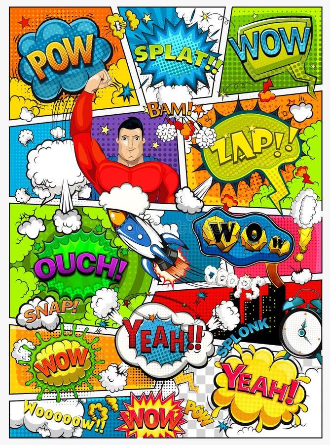 La página del cómic dividió por las líneas con las burbujas del discurso, el cohete, el super héroe y el efecto sonoro Maqueta re libre illustration