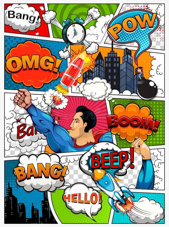 La página del cómic dividió por las líneas con las burbujas del discurso, el cohete, el super héroe y el efecto sonoro Maqueta re ilustración del vector