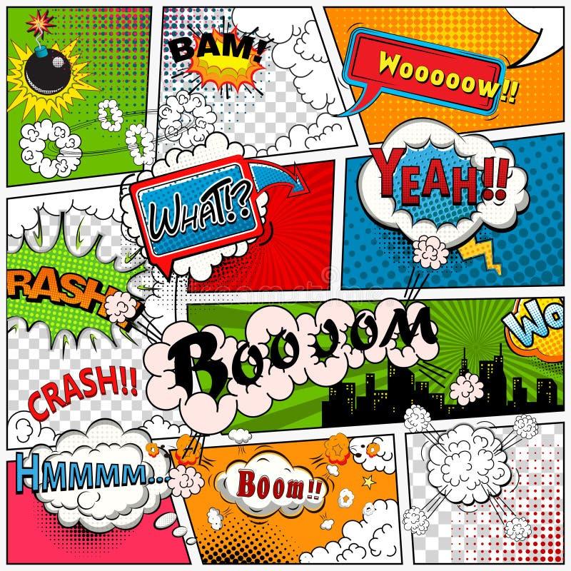 La página del cómic dividió por las líneas con las burbujas del discurso, efecto sonoro Maqueta retra del fondo Plantilla de los  ilustración del vector