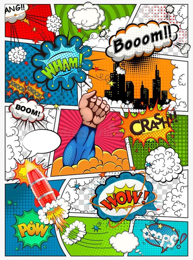 La página del cómic dividió por las líneas con las burbujas del discurso, el cohete, el super héroe y el efecto sonoro stock de ilustración