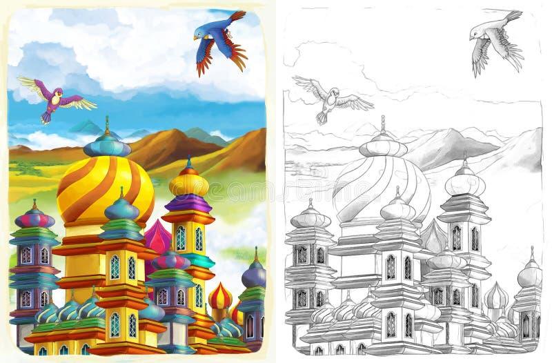 La página del colorante del bosquejo - cuento de hadas del estilo artístico stock de ilustración