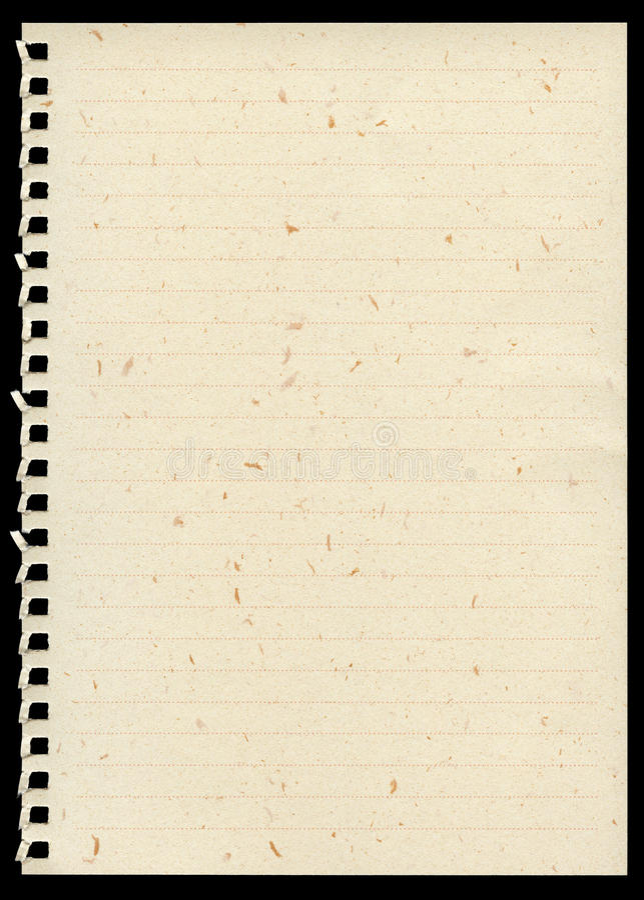Página del cuaderno imagenes de archivo