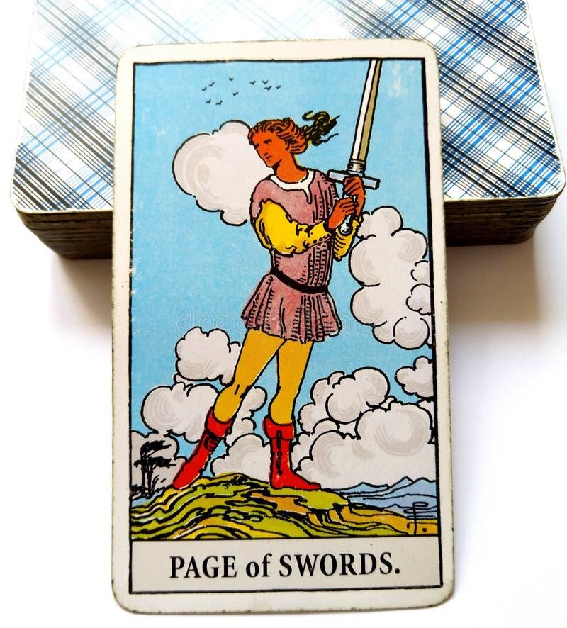 La página del planeamiento de la carta de tarot de las espadas planea la inspiración de las ideas foto de archivo libre de regalías