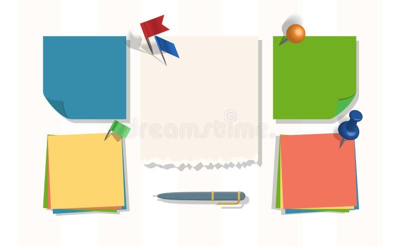 La página del vector de los papeles de nota de la libreta o de hojas del nootbook y las etiquetas engomadas para los recordatorio ilustración del vector