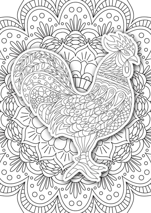 La Página Imprimible Para Los Adultos - Diseño Del Gallo, Actividad ...