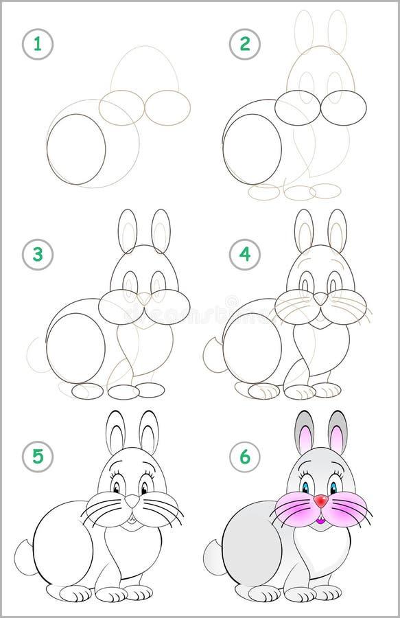 La página muestra cómo aprender paso a paso dibujar un conejo divertido Habilidades de los niños que se convierten para dibujar ilustración del vector