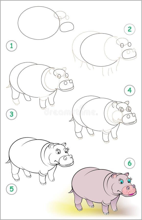 La página muestra cómo aprender paso a paso dibujar un hipopótamo sonriente Habilidades de los niños que se convierten para dibuj ilustración del vector