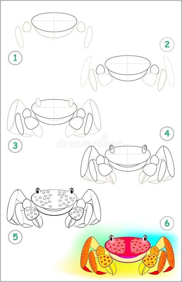 La página muestra cómo aprender paso a paso dibujar un pequeño cangrejo Habilidades de los niños que se convierten para dibujar y ilustración del vector