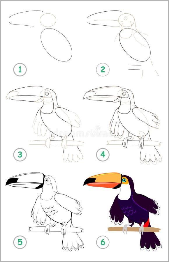 La página muestra cómo aprender paso a paso dibujar un tucán lindo Habilidades de los niños que se convierten para dibujar y colo stock de ilustración