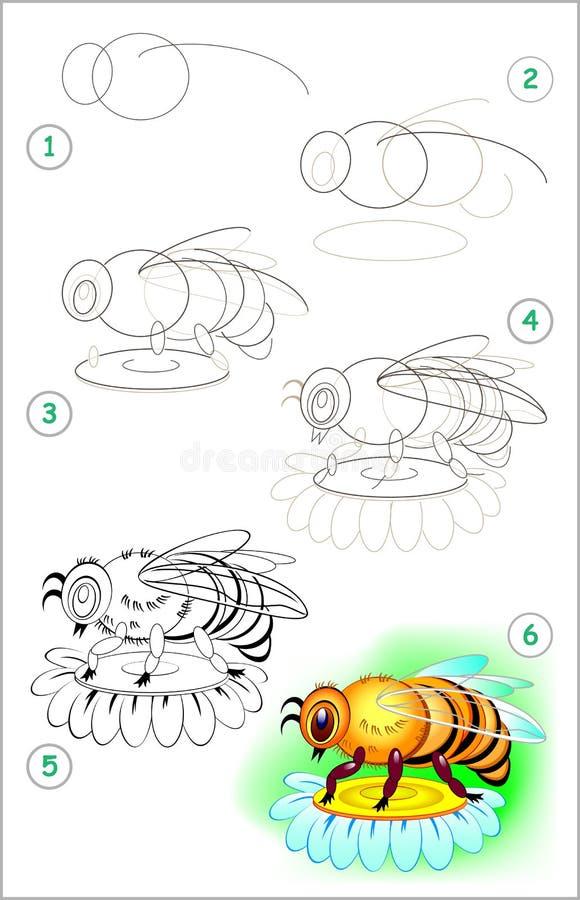 La página muestra cómo aprender paso a paso dibujar una abeja Habilidades de los niños que se convierten para dibujar y colorear libre illustration