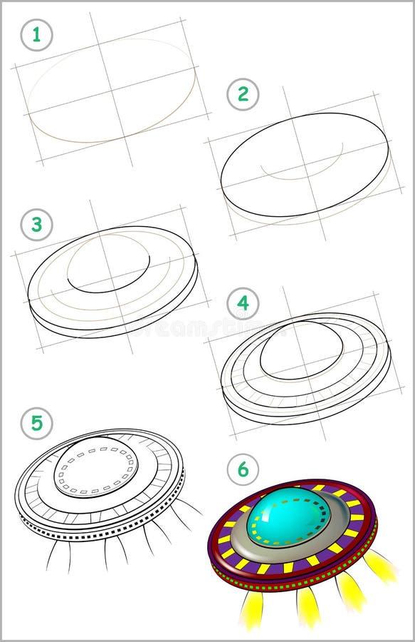 La página muestra cómo aprender paso a paso dibujar el platillo volante ilustración del vector