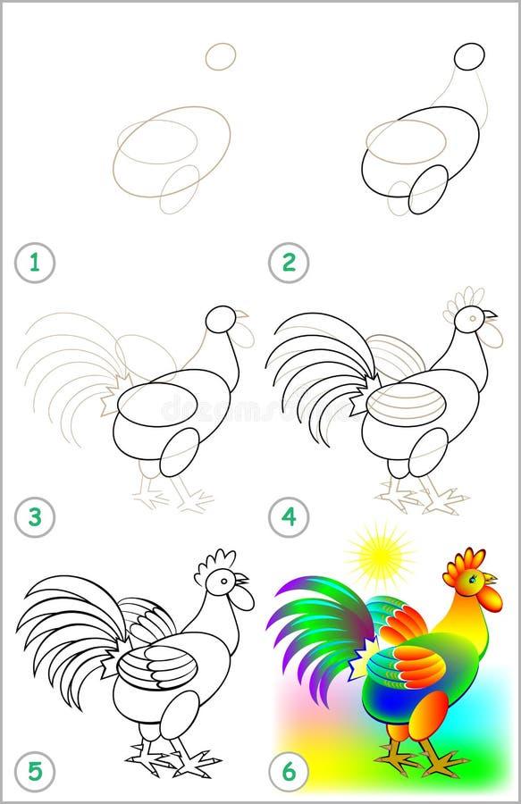 La Página Muestra Cómo Aprender Paso A Paso Dibujar Un Gallo ...