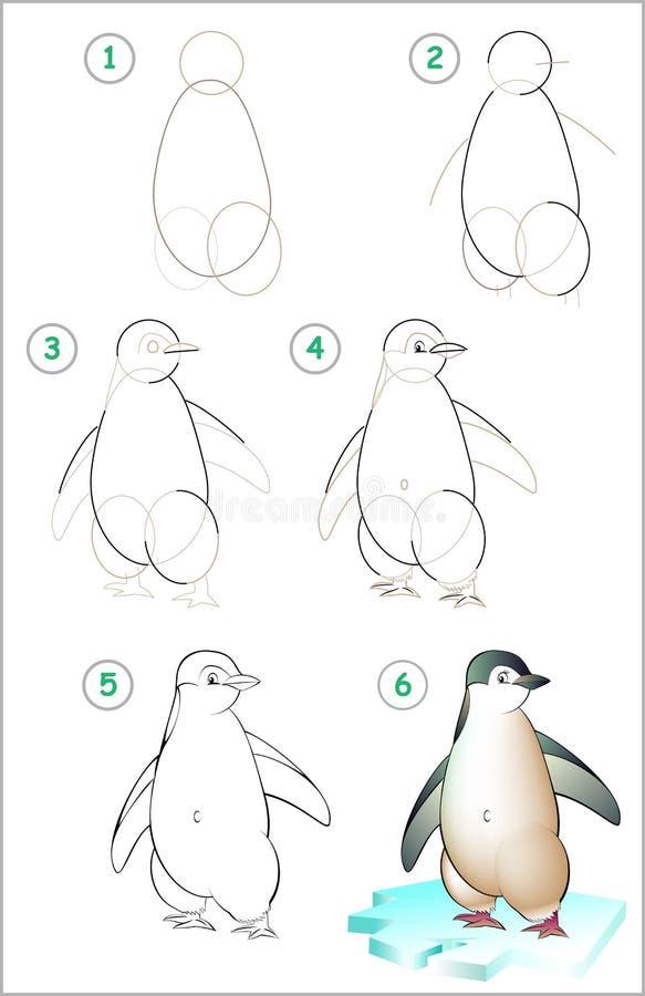 La página muestra cómo aprender paso a paso dibujar un pingüino stock de ilustración